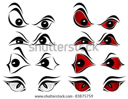 Set of evil eyes on white background, illustration