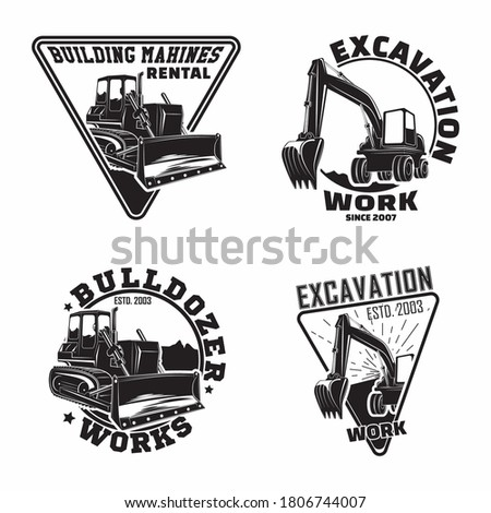 Set of Excavation work emblems design, emblems of bulldozer or building machine rental organisation print stamps, constructing equipment, Heavy bulldozer machine typographyv emblems, Vector