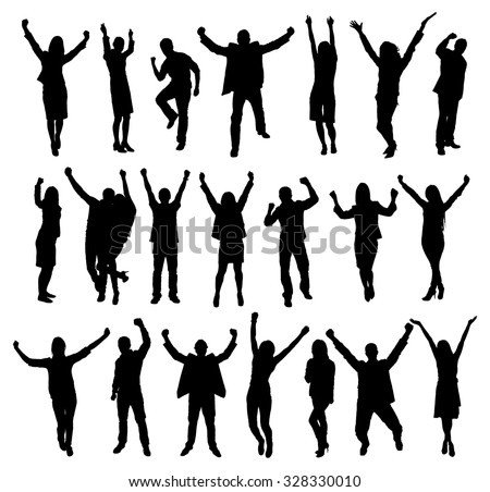 Set Of Excited People Silhouettes. Vector Image #328330010