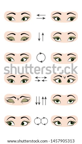 Set of exercises for the prevention and improvement  for eyes. Vector illustration.