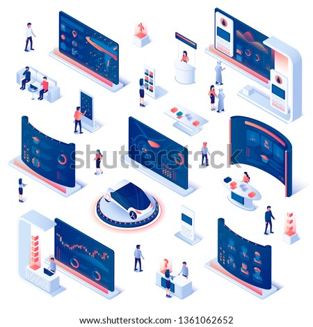Set of Exhibition Demonstration Stands and Trade Stalls with People Walking Among Commercial Promotional Stands and Talking to Consultants and Promoters. Expo Booths. 3D Isometric Vector Illustration.