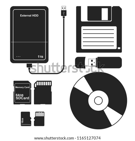 Set of external data Storage media: Floppy disk, External hard disk drive, Flash drive USB memory stick, CD or DVD disk, SD and Micro SD memory card. Vector illustration