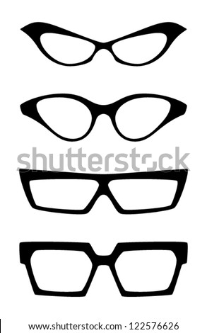 Set of extravagant vector glasses, isolated on white background