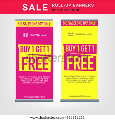 Set of eye-catching roll-up banners big sale special offer buy one get one free vector templates. Promotion banner for offers, discounts and sales pink and yellow colors.