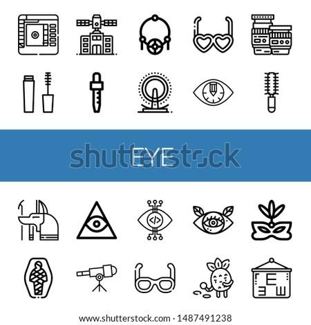 Set of eye icons such as Color picker, Mascara, Planetarium, Dropper, Amulet, London eye, Sunglasses, Eye, Lens, Hair brush, Anubis, Mummy, Freemasonry, Telescope, View ,