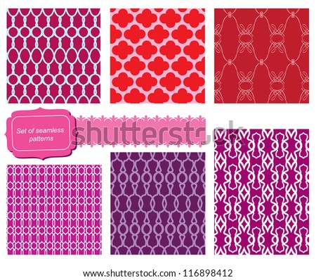 set of fabric textures with different lattices - seamless patterns