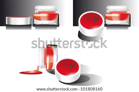 set of face creams and body on a white background