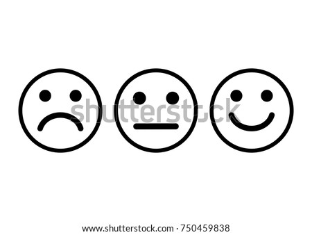 Set of face icons with negative, neutral and positive mood. Vector illustration