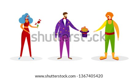 Set of Faceless Characters in Costumes for Show or Entertainment in Circus Isolated on White Background. Man and Woman Clowns, Male Magician with Top Hat. Cartoon Flat Vector Illustration. Clip Art.