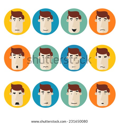 Set of faces individuals expressing emotions on colored circles. Smile, angry, passionate, aggressive, tired, sleep.