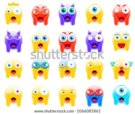 Set of Faces Screaming in Fear. Screaming in Fear Emojis. Scared Face Icons. Smile Screaming in Fear Emoticon. Isolated Vector Illustration on White Background