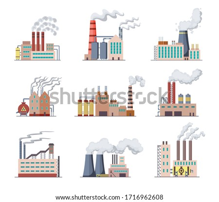Set of Factories and power plants flat design of vector illustration. Manufactory industrial buildings refinery factory or Nuclear Power Stations. Building big of plants or factorys with pipe smoke stock photo