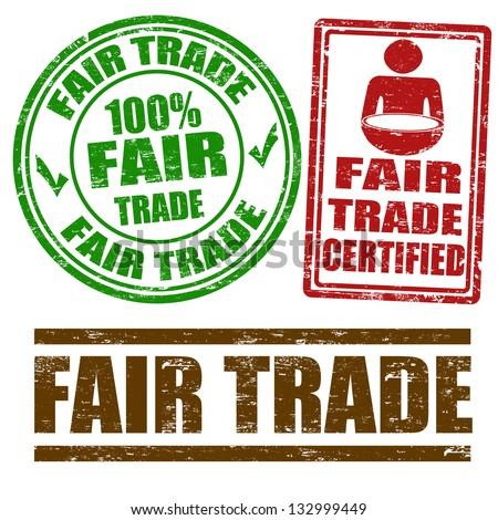 Set of Fair Trade grunge rubber stamps on white, vector illustration