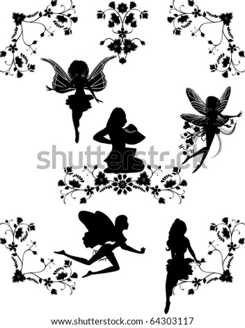 set of fairies and floral