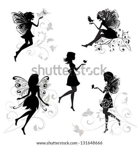 set of fairies with butterflies