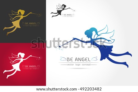 set of fairy flying logo vector