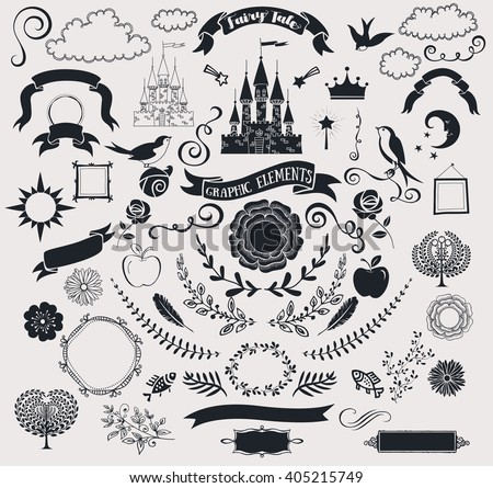 set of fairy tale graphic