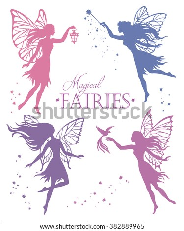 set of  fairy vector silhouette