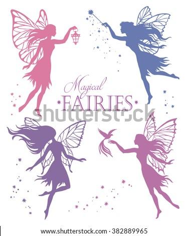 Set of  fairy vector silhouette illustration