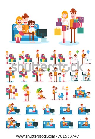 Set of Familiar People Scenes on White Background. Isolated Flat Vector Illustration