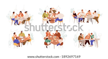 Set of families, friends and colleagues sitting at dining table and eating food together. People meeting at breakfast, lunch or dinner. Colorful flat vector illustration isolated on white background