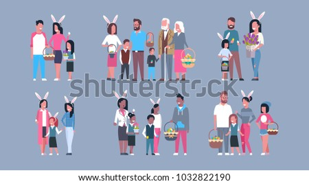 Set Of Families On Happy Easter Holiday Parents And Children Wearing Bunny Ears Flat Vector Illustration