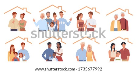 Set of families stay at home. Different families, young and old, with and without children. People at Home Concept Vector illustration in a flat style