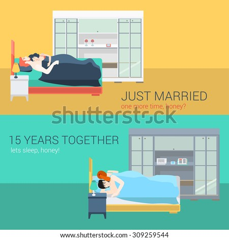 set of family couple in bedroom