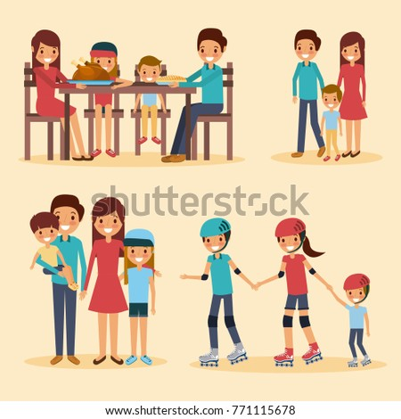 set of family differents activity