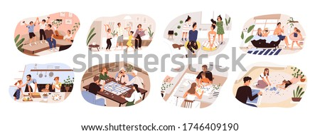 Set of family home activities. Happy parents and children playing video and board games, cooking, dancing, doing jigsaw puzzle, taking bath, painting together. Vector illustration flat cartoon style