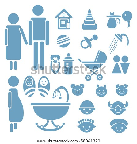 Set of family icons for design