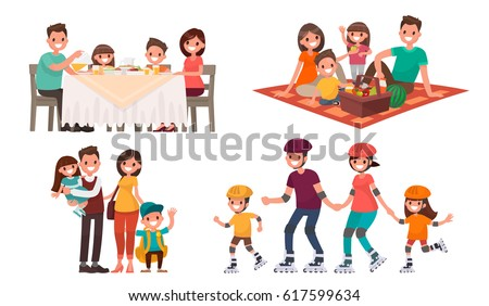 Set of family leisure. Lunch at home, picnic in nature, walk in outdoor, roller skating. Vector illustration in a flat style - Shutterstock ID 617599634
