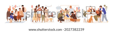 Set of family members at baby shower parties and Sip and See events. People celebrating, meeting, and introducing newborn arrival, infant birth. Flat vector illustration isolated on white background