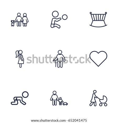 Set Of 9 Family Outline Icons Set.Collection Of Grandfather, Playing, Stroller Elements.
