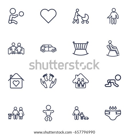 Set Of 16 Family Outline Icons Set.Collection Of Lovers, Grandfather, Car Elements.