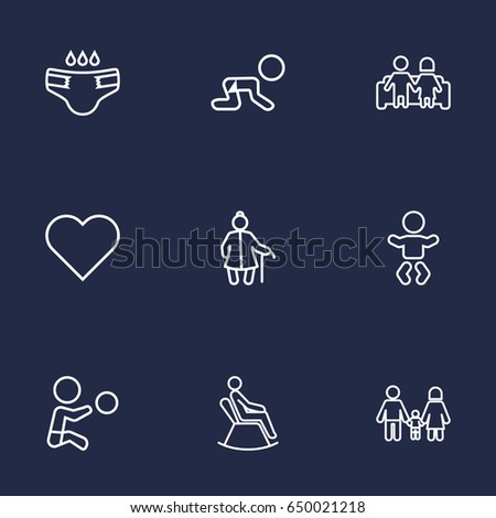 Set Of 9 Family Outline Icons Set.Collection Of Soul, Baby, Boy And Other Elements.