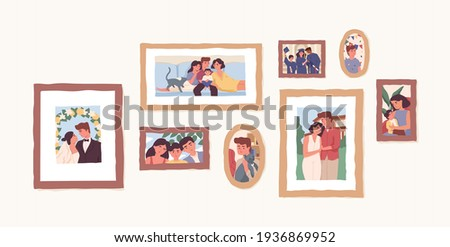 Set of family photo portraits in frames. Memorable pictures of happy parents and children at important moments and events in life. Colored flat vector illustration of photographs or snapshots ストックフォト ©