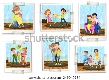 set of family photos on a white