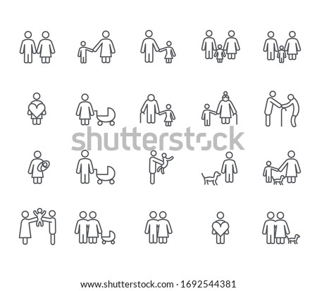 Set of family Related Vector Line Icons. Includes such Icons as motherhood, fatherhood, grandparents, relatives, kids, newborn and more.