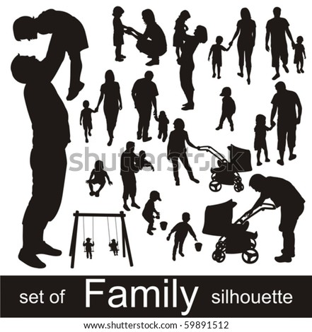 Set of family silhouettes. - stock vector