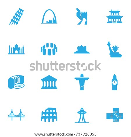 Set Of 16 Famous Icons Set.Collection Of Academy, India Mosque, Bridge And Other Elements.