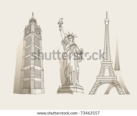 Set of famous landmarks - stock vector