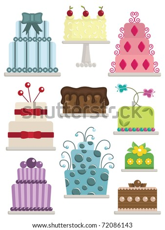 set of fancy cakes with frosting and decorations isolated on white