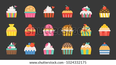 set of fancy cup cake  flat