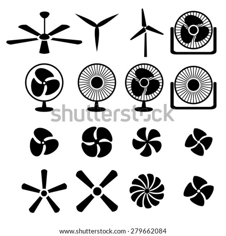 Set of fans and propellers icons , isolated vector object