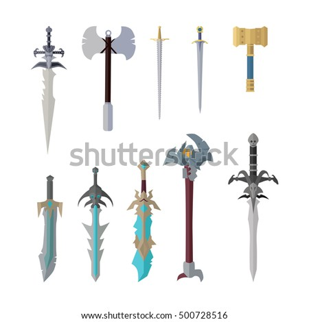 set of fantastic game weapon