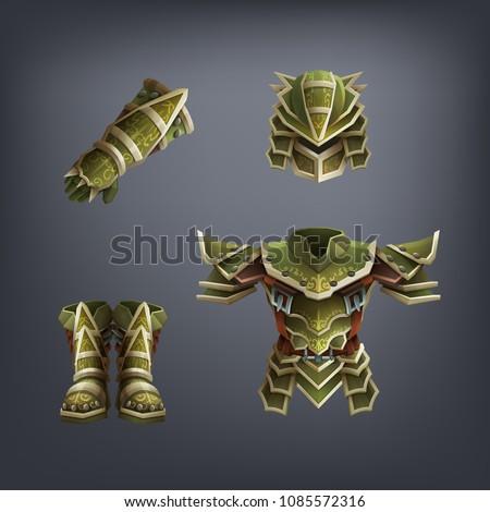set of fantasy armor for game