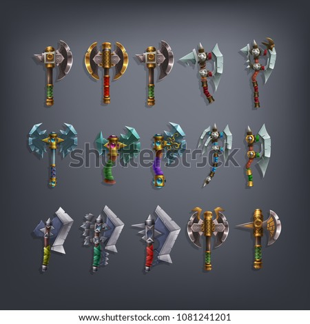 set of fantasy battle axes