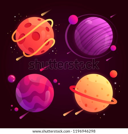 set of fantasy cartoon planets in space. vector illustration. colorful planets.