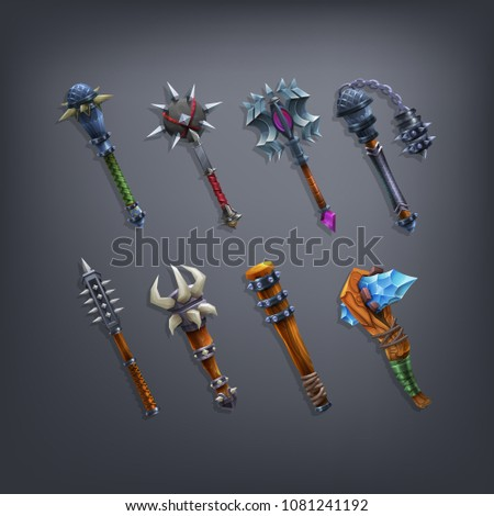 set of fantasy cudgels and mace